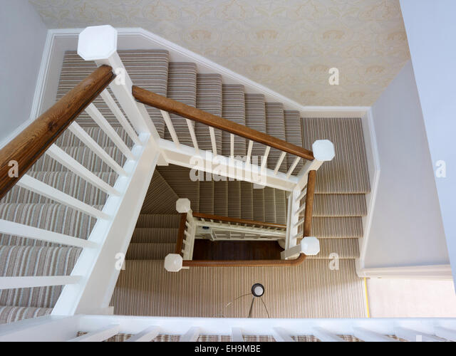 View Down Stairwell, Residential House, Kingsmead, UK   Stock Image