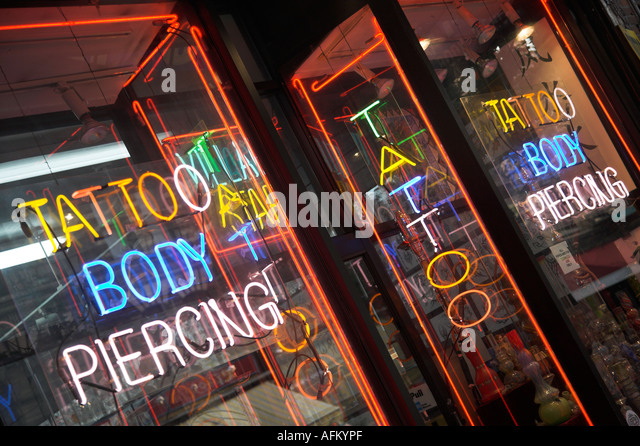 Tattoo parlor exterior stock photos tattoo parlor for Studio 28 tattoos and body piercing new york ny