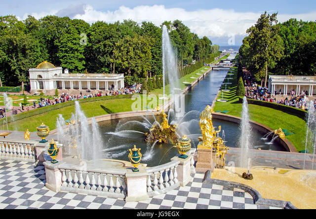 Peterhof Palace Grand Cascade with fountains and gardens in summer located near Saint Petersburg, Russia - Stock Image
