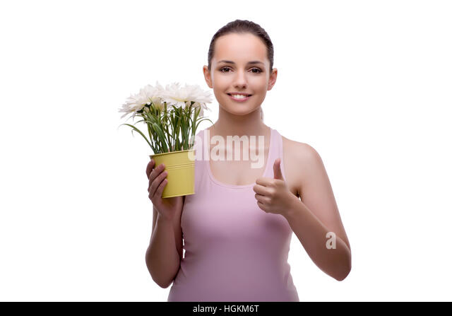 Beautiful Young Woman With Red Flowers Posing In The Rose ...
