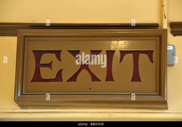 Antique exit sign stock photos