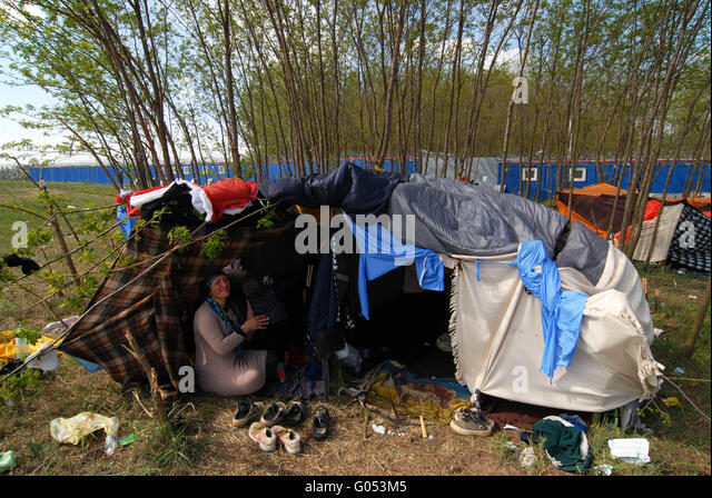 Syrian refugee living in tent in no manu0027s land near the wall that separates Serbia from & Subotica Stock Photos u0026 Subotica Stock Images - Alamy