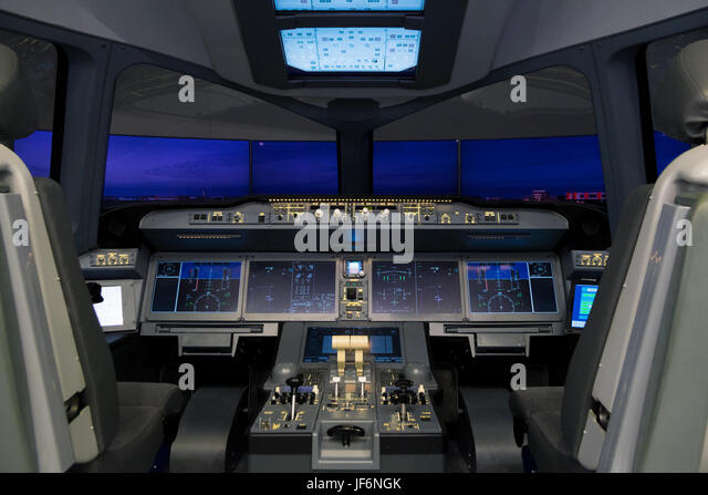 PARIS, FRANCE - JUN 23, 2017: Irkut MC-21 airliner flight simulator at the Paris Air Show 2017 - Stock Image