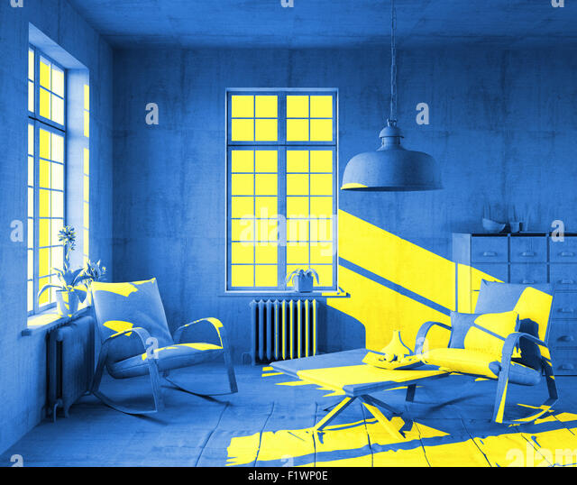 Yellow Sunlight In Art Style Interior 3d Concept