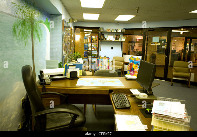 Travel agency interior stock photos travel agency for Interior design travel agency office