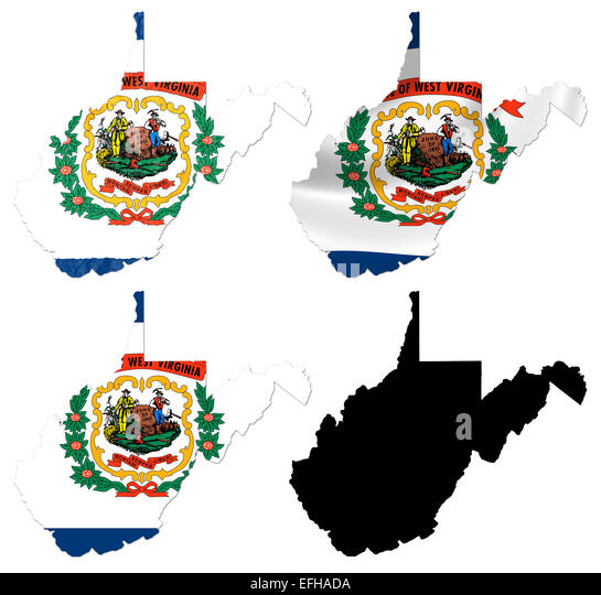 Us West Virginia State Flag Over Map Stock Image