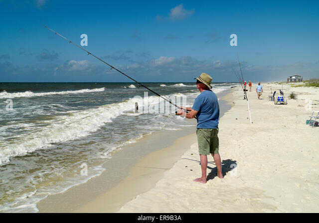 Surf fishing stock photos surf fishing stock images alamy for Surf fishing gulf shores