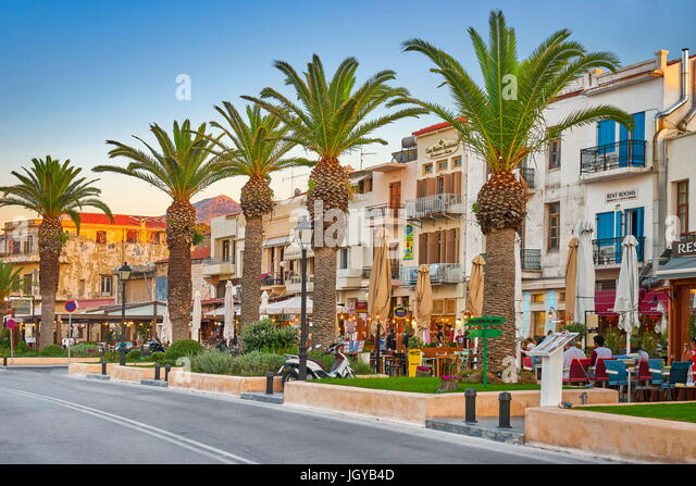 Old town promenade, Rethymno, Crete Island, Greece - Stock Image