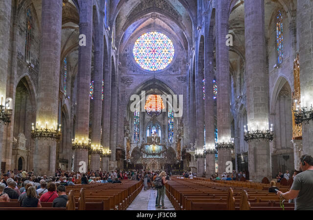 Palma de Majorca, Spain, People in the nave of the Cathedral. - Stock Image