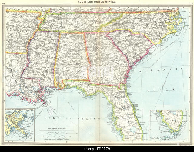 Usa Southern Us Maps Of Mouths Mississippi Florida 1907 Stock Image