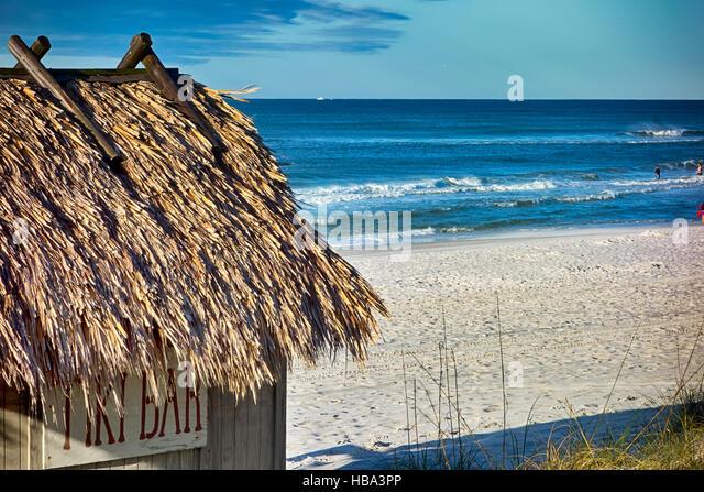 beach tiki hut bar on the ocean stock image