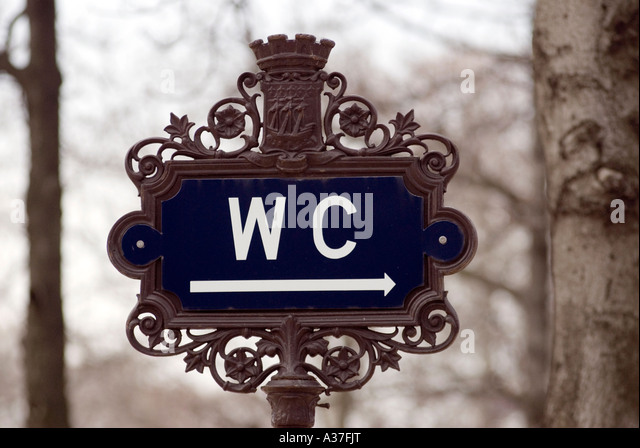 PARIS FRANCE WC SIGN ON THE CHAMPS ELYSEES TOILET 2007   Stock Image