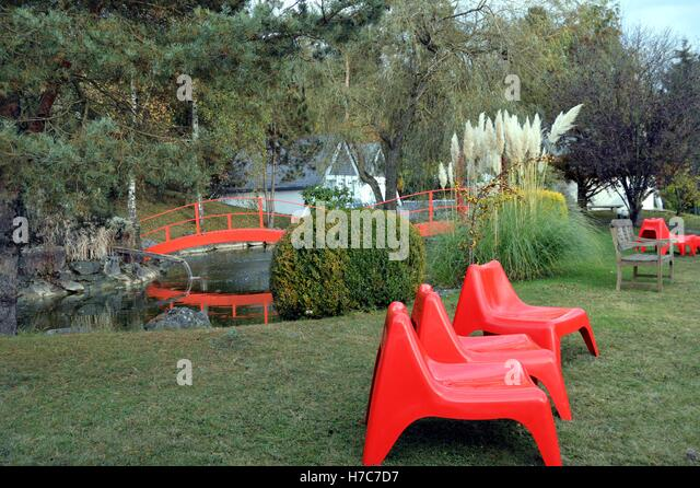 japanese outdoor furniture. japanese garden with a sitting area and small bridge stock image outdoor furniture