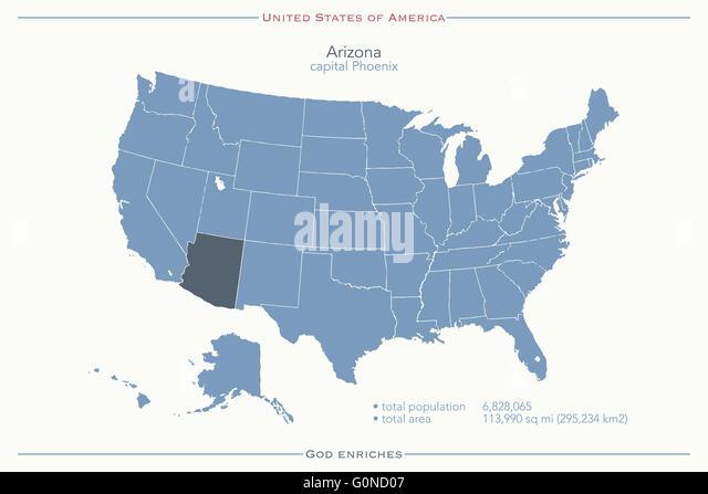 Political Map Arizona Stock Photos Political Map Arizona Stock - Arizona on a us map