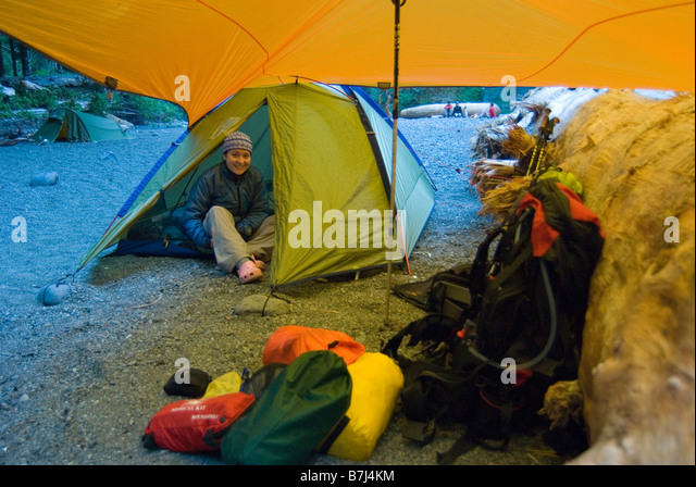 Woman (20-25) in a tent on a hiking trip West Coast & Bc Camping Tent Stock Photos u0026 Bc Camping Tent Stock Images - Alamy