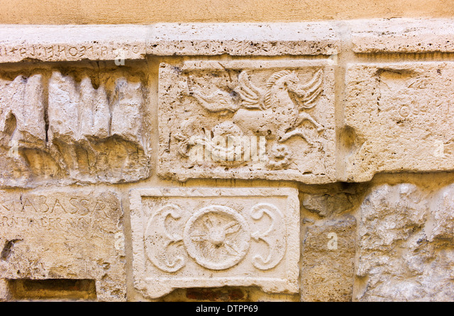 Ancient carved reliefs stock photos