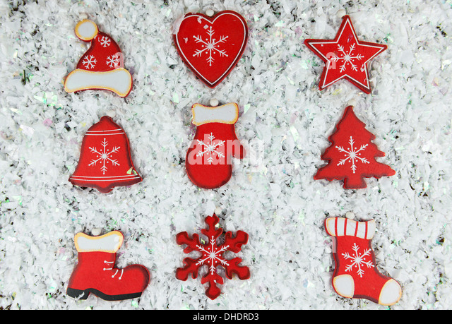 rustic shabby chic christmas decorations on snow stock image
