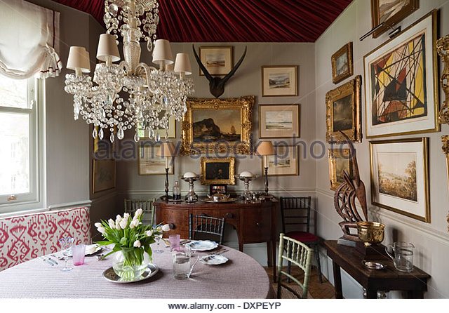 Dining Room Crystal Chandelier. Dining Room With Draped Ceiling And Crystal  Chandelier Stock Image B
