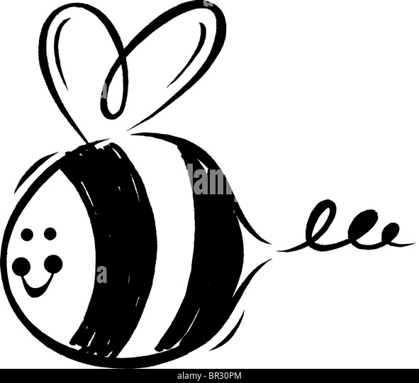 A Black And White Drawing Of Smiling Bumblebee