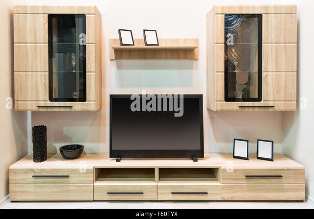 Awesome Modern Wooden Furniture With TV Set   Stock Image