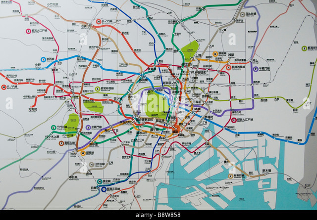 Train map tokyo stock photos train map tokyo stock images alamy map of the tokyo subway system stock image sciox Image collections