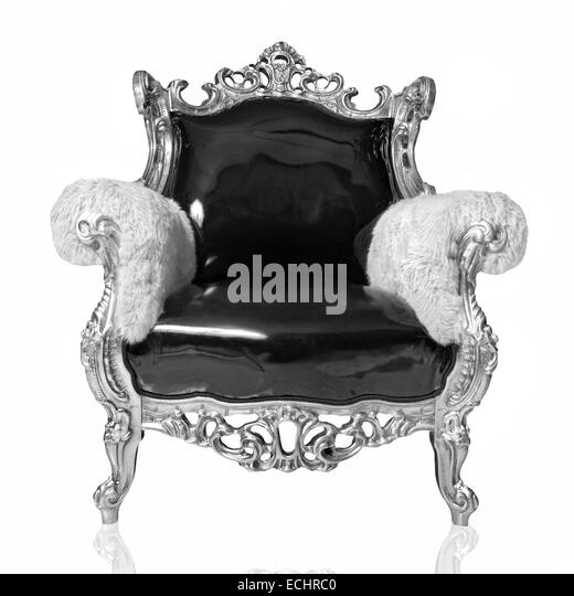 antique chair isolated on white - Antique Chair Black And White Stock Photos & Images - Alamy