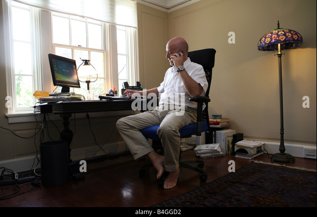 man working in his home office stock image