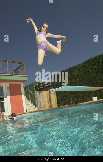 Kid Jumping Diving Board Stock Photos Kid Jumping Diving