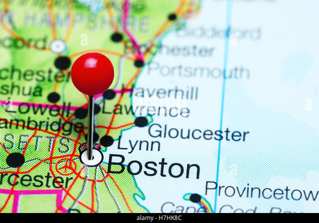 Boston Marked On The Map Of The Usa Stock Photos Boston Marked