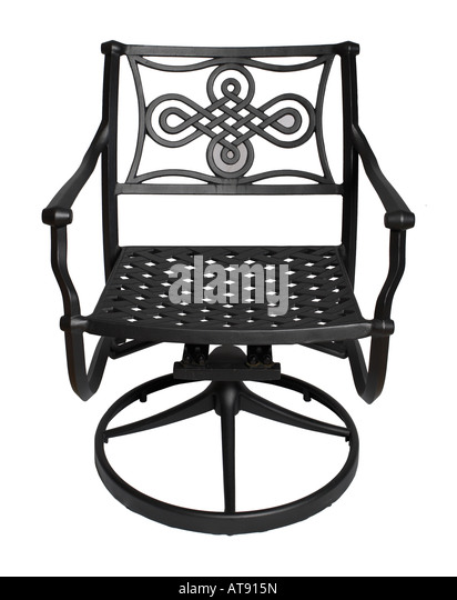 Wrought Iron Backyard Outdoor Metal Chair   Stock Image