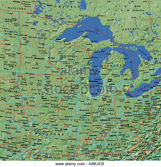 Great Lakes Map Stock Photos Great Lakes Map Stock Images Alamy - Great lakes usa map