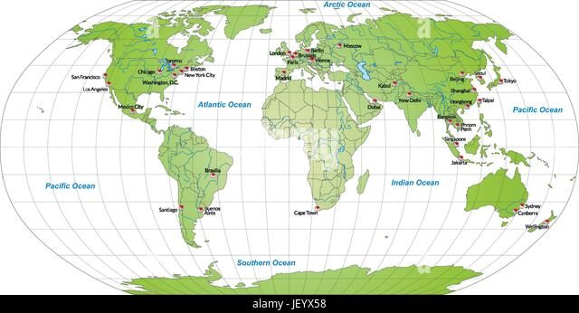 Map Of World Capitals In Green   Stock Vector