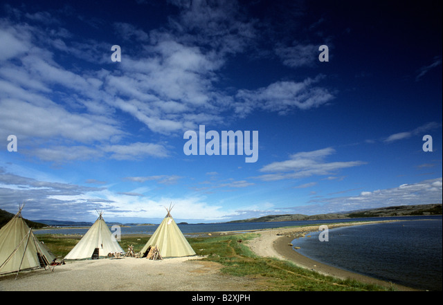 Norway Lakselv Sami people tipis and fjord - Stock Image & Sami Tent Norway Stock Photos u0026 Sami Tent Norway Stock Images - Alamy