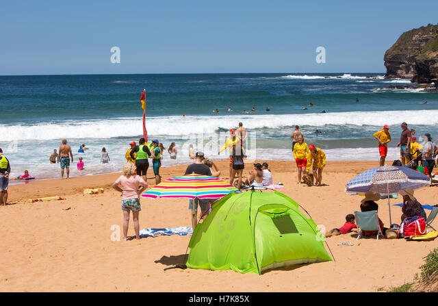 Warriewood Beach  one of Sydney famous northern beaches  new south walesAustralia - & Sun Protection Tent Beach Stock Photos u0026 Sun Protection Tent Beach ...