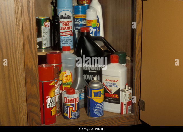 Household Chemicals In Janitor Closet Or Cupboard   Stock Image