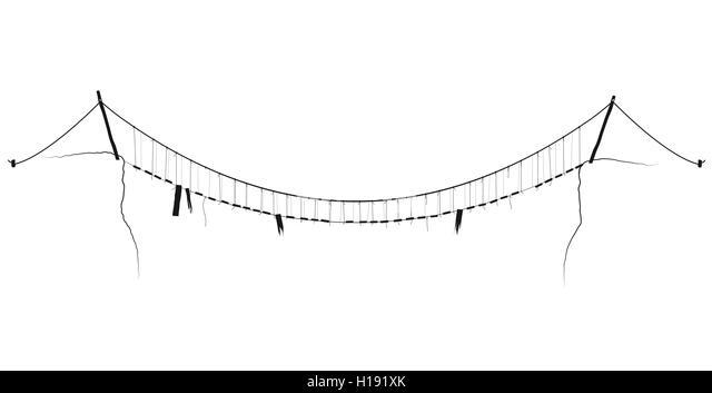 Rope bridge jungle stock photos rope bridge jungle stock for Simple suspension hanging