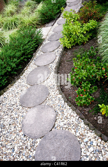 A gravel garden path with round stepping stones   Stock ImageStepping Stones Path Stock Photos   Stepping Stones Path Stock  . Garden Paths And Stepping Stones. Home Design Ideas