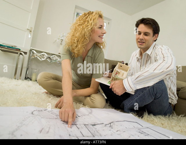 Building plan straight stock photos building plan for Living room ideas young couples