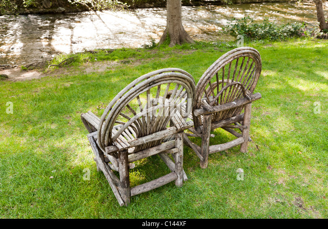 Bent willow wood chairs on lawn, Big Sur Inn, Big Sur, California -