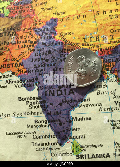 Indian ocean map stock photos indian ocean map stock images alamy indian rupee coin on world map stock image gumiabroncs