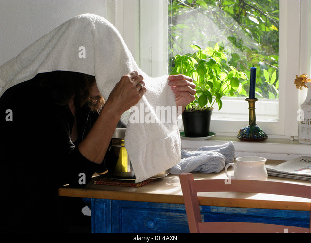Woman Making a Steam Vapour Inhalation - Stock Image & Steam Inhalation Stock Photos u0026 Steam Inhalation Stock Images - Alamy