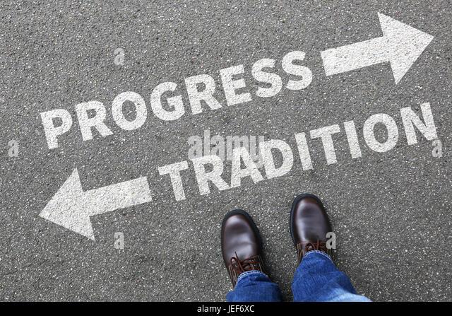 Tradition progress future management assessment analysis company business concept reward - Stock Image