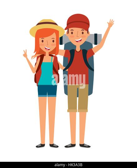 Young Couple Cartoon Happy Man Cartoon Icon...