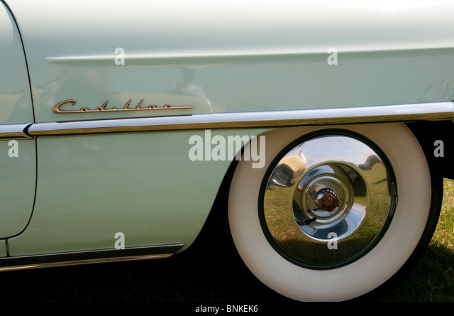 wing of a classic cadillac car stock image