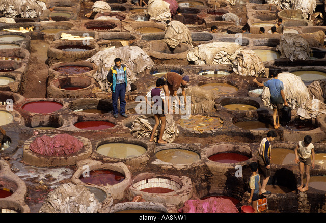 leather tanning vats medina de fes morocco stock image