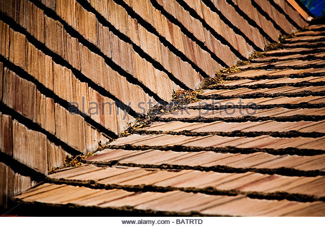 Detail Of Wood Roof Shingles   Stock Image