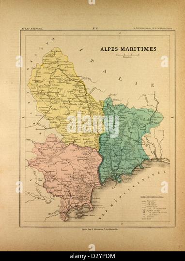 Map Alpes Maritimes France Stock Photos  Map Alpes Maritimes