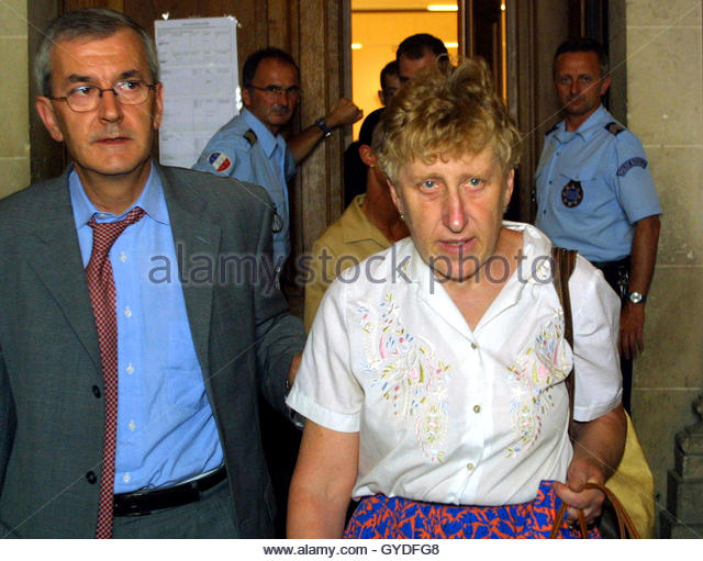 ... who represents her son Patrick Dils, leave the courtroom - Stock Image