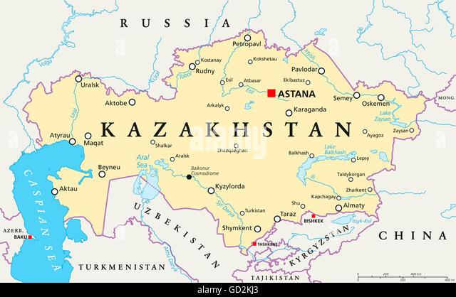 Kazakhstan Map Stock Photos Kazakhstan Map Stock Images Alamy