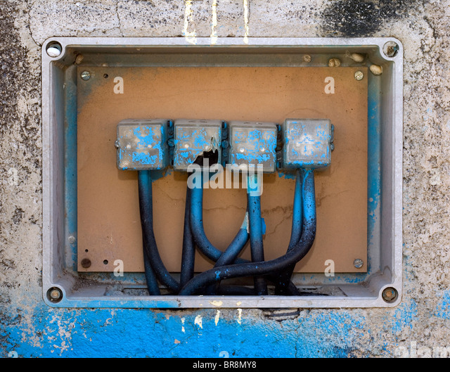 conduit box stock photos conduit box stock images alamy old electric connection box cables and conduit coming out the boxes stock image